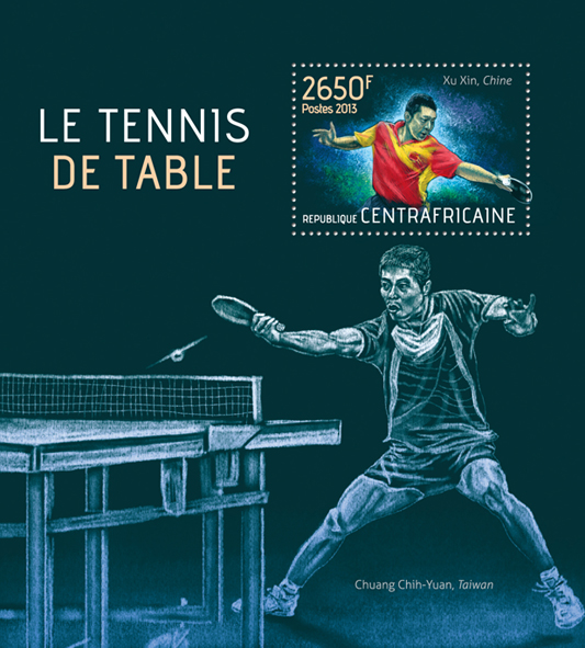 Table tennis - Issue of Central African republic postage stamps