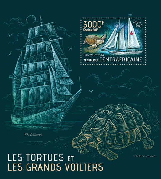 Turtles and Ships - Issue of Central African republic postage stamps