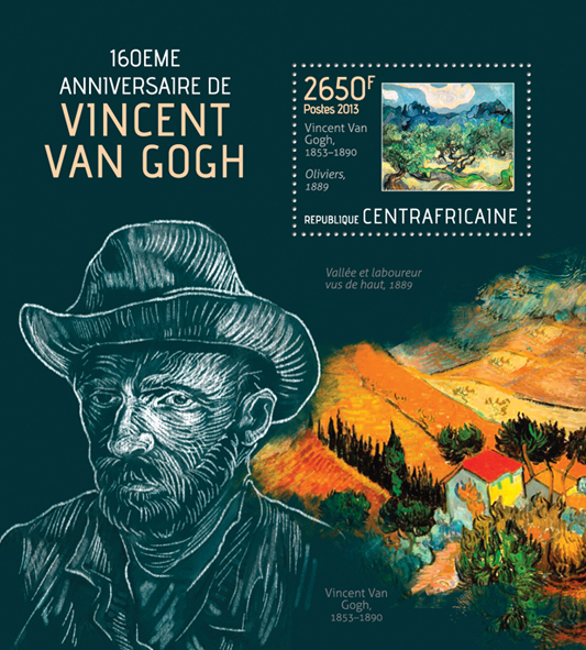 Vincent Van Gogh - Issue of Central African republic postage stamps
