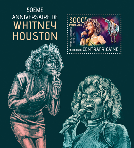 Whitney Houston - Issue of Central African republic postage stamps