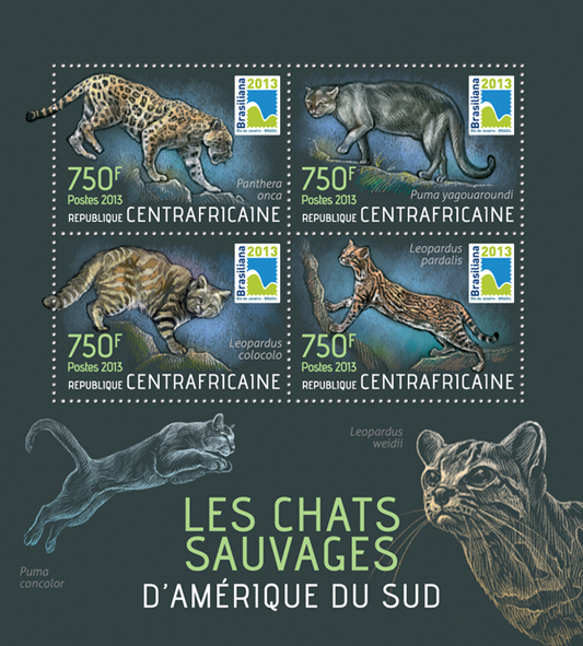 Wildcats - Issue of Central African republic postage stamps