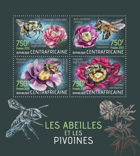 Bees and Peonies - Issue of Central African republic postage stamps