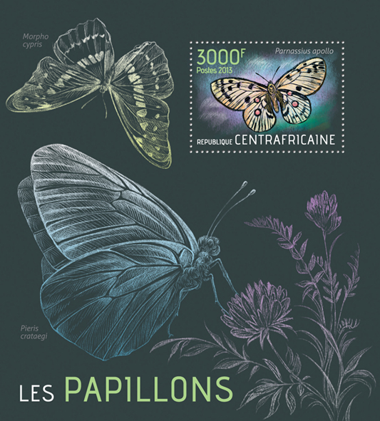 Butterflies - Issue of Central African republic postage stamps