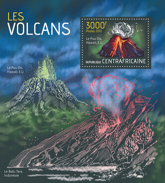 Volcanoes - Issue of Central African republic postage stamps