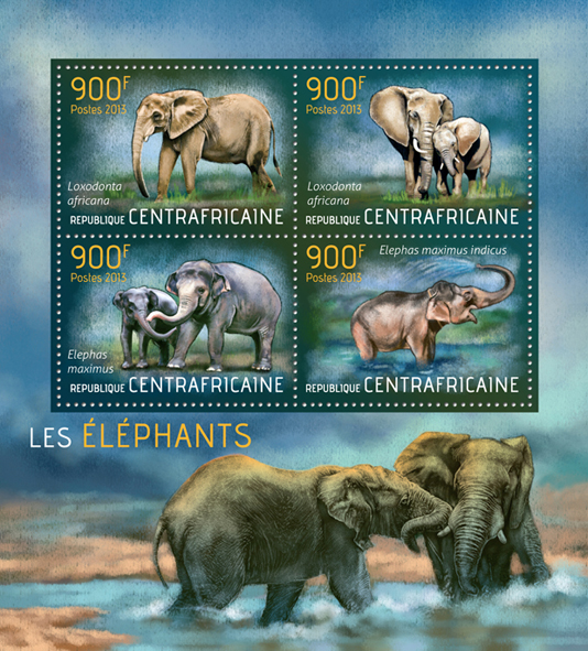 Elephants - Issue of Central African republic postage stamps