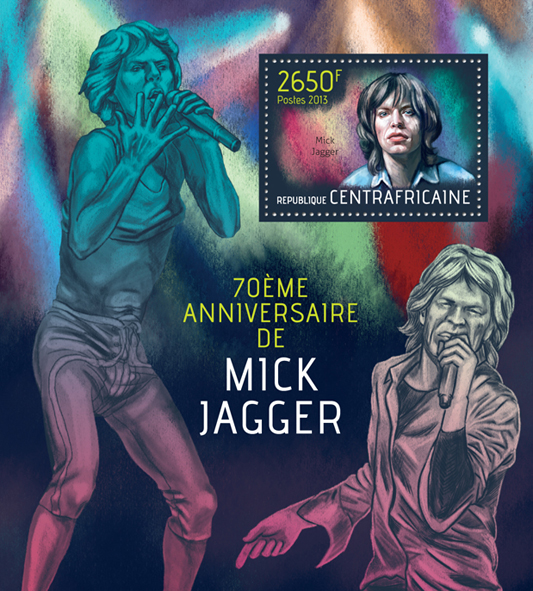 Mick Jagger - Issue of Central African republic postage stamps