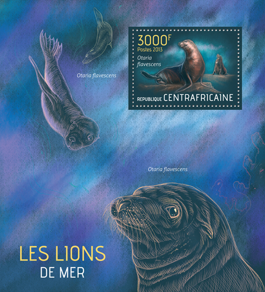Sea lions - Issue of Central African republic postage stamps