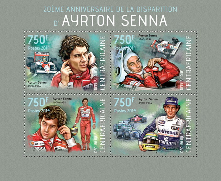 Ayrton Senna - Issue of Central African republic postage stamps