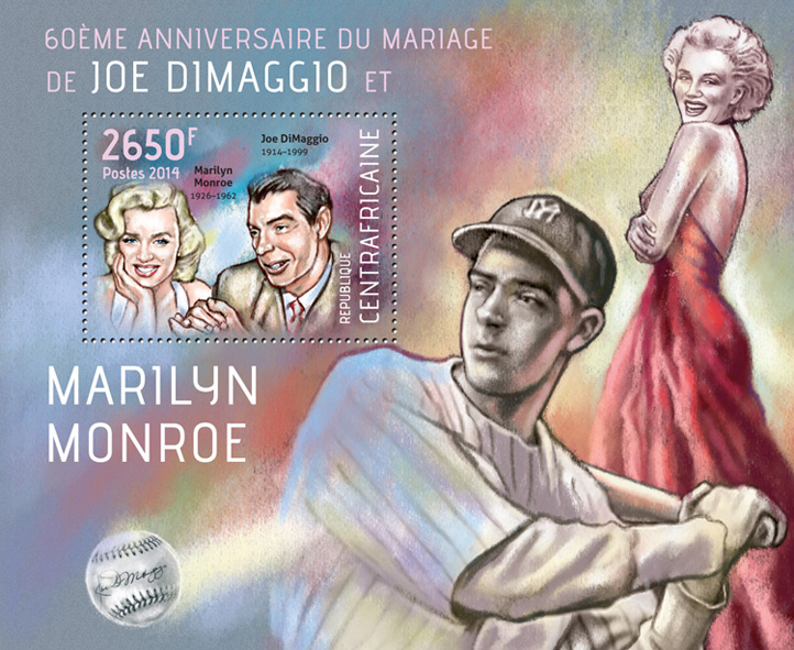 Joe DiMaggio and Marilyn Monroe - Issue of Central African republic postage stamps