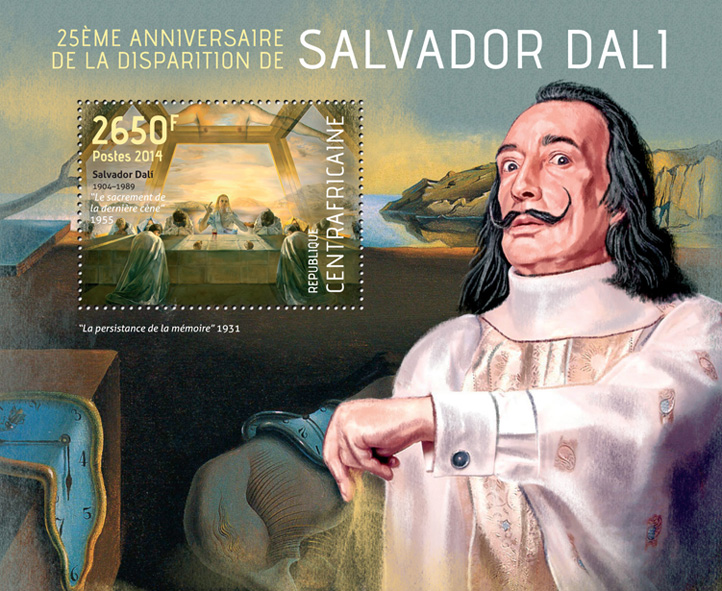 Salvador Dali - Issue of Central African republic postage stamps