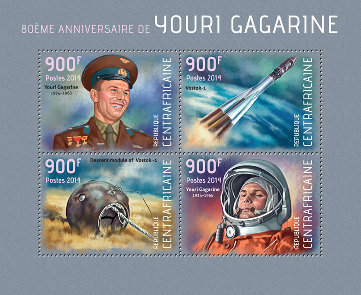 Youri Gagarine - Issue of Central African republic postage stamps
