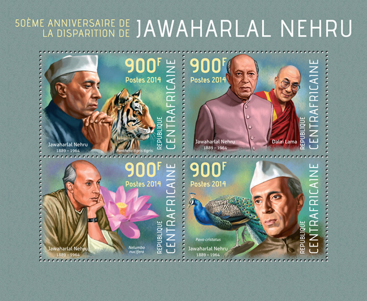 Jawaharlal Nehru - Issue of Central African republic postage stamps
