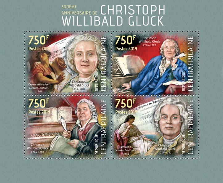 Christoph Willibald Gluck  - Issue of Central African republic postage stamps