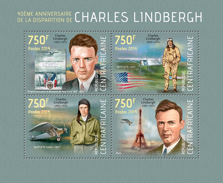 Charles Lindbergh - Issue of Central African republic postage stamps