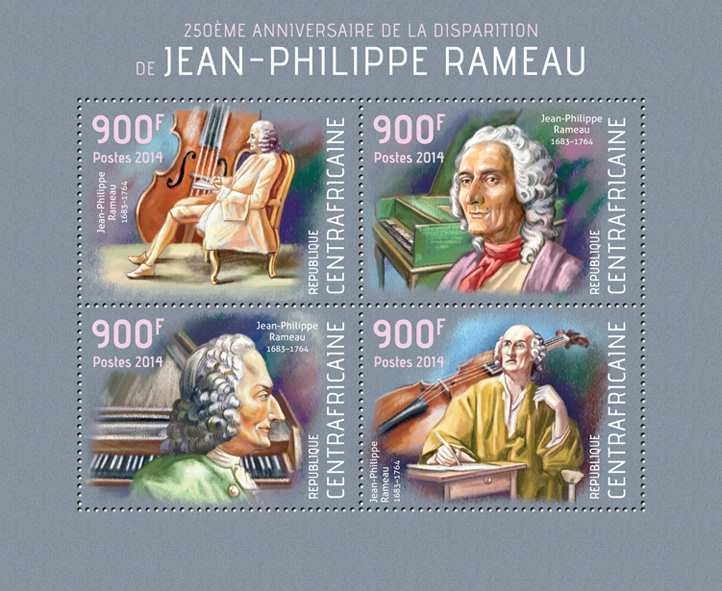 Jean-Philippe Rameau - Issue of Central African republic postage stamps