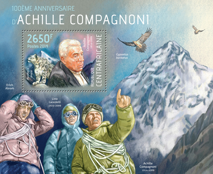 Achille Compagnoni - Issue of Central African republic postage stamps