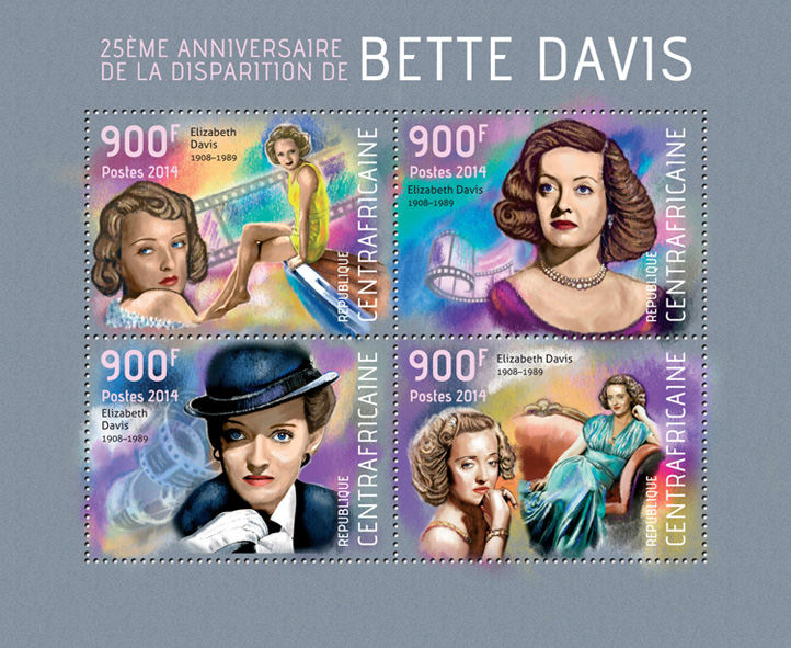 Bette Davis - Issue of Central African republic postage stamps