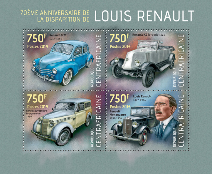 Louis Renault  - Issue of Central African republic postage stamps