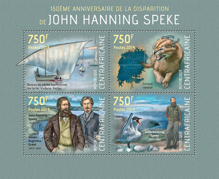 John Hanning Speke  - Issue of Central African republic postage stamps