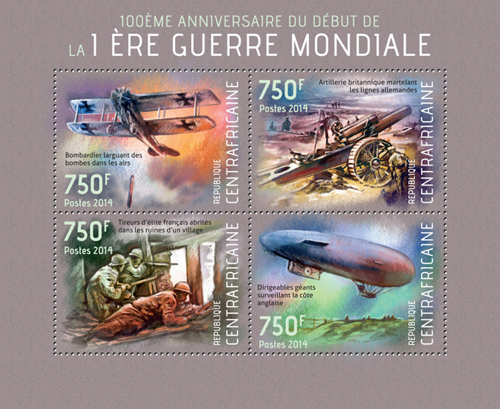 World War I  - Issue of Central African republic postage stamps