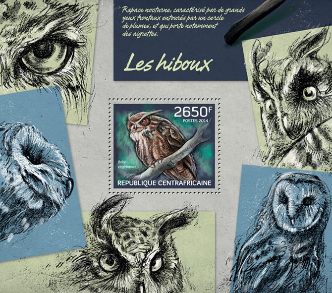 Owls - Issue of Central African republic postage stamps