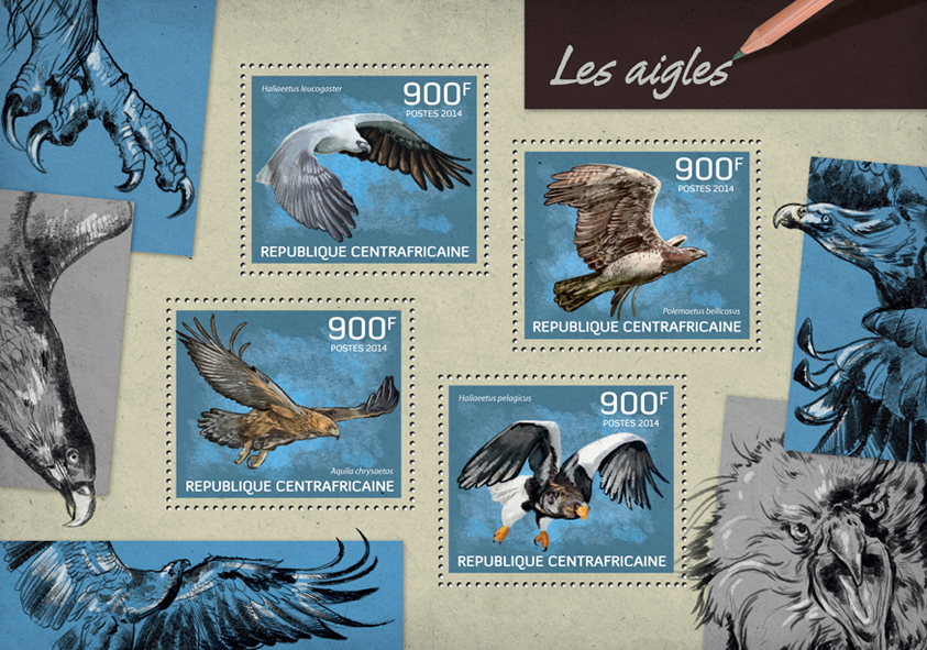 Eagles - Issue of Central African republic postage stamps