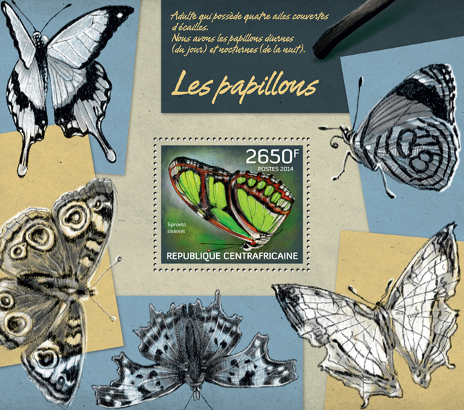 Butterflies I - Issue of Central African republic postage stamps