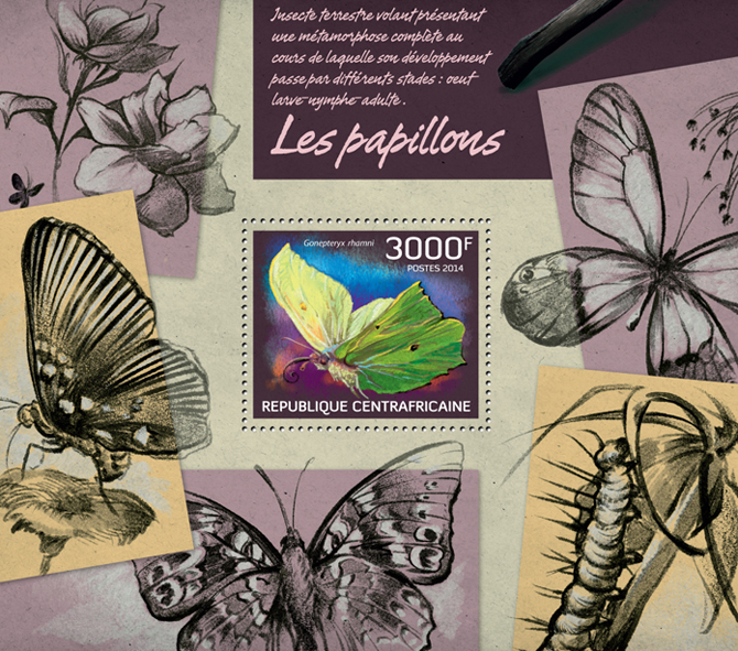 Butterflies II - Issue of Central African republic postage stamps
