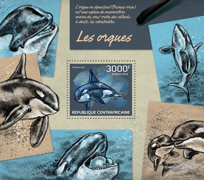 Orcas - Issue of Central African republic postage stamps