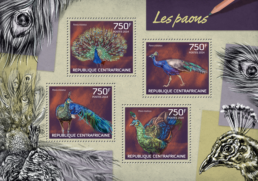 Peacocks - Issue of Central African republic postage stamps