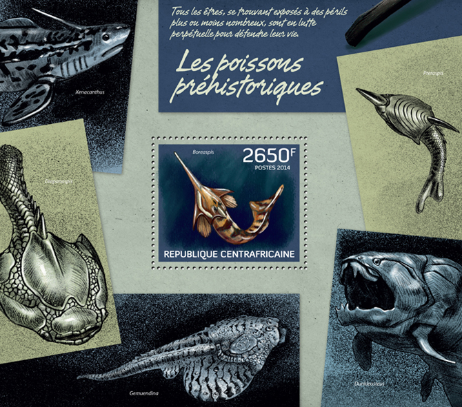 Prehistoric fishes - Issue of Central African republic postage stamps