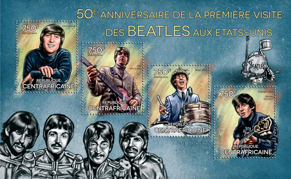 The Beatles - Issue of Central African republic postage stamps