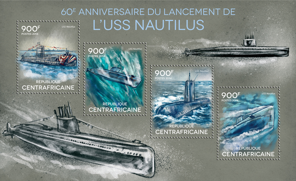 USS Nautilus - Issue of Central African republic postage stamps