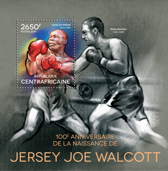 Jersey Joe Wallcot - Issue of Central African republic postage stamps