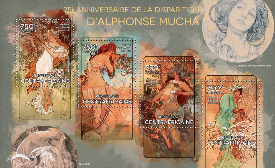 Alphonse Mucha - Issue of Central African republic postage stamps