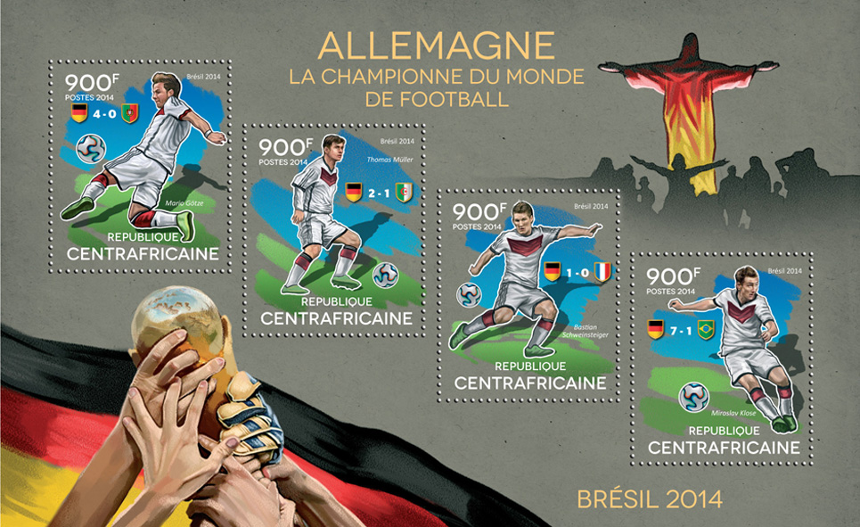 Brazil 2014 - Issue of Central African republic postage stamps