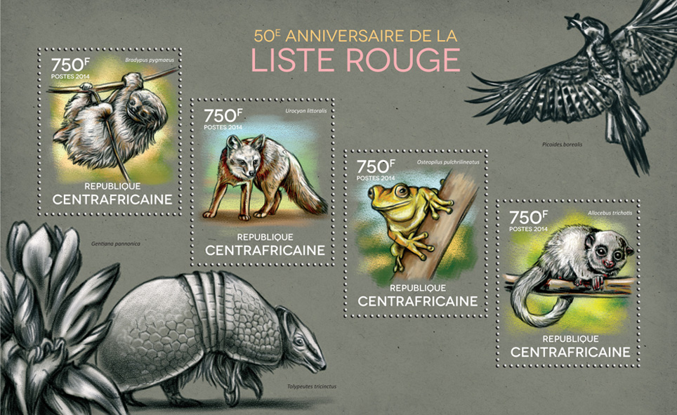 Red List - Issue of Central African republic postage stamps