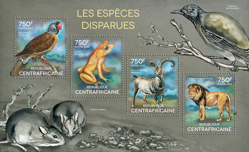 The extinct species - Issue of Central African republic postage stamps