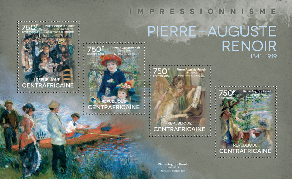 Pierre-Auguste Renoir  - Issue of Central African republic postage stamps