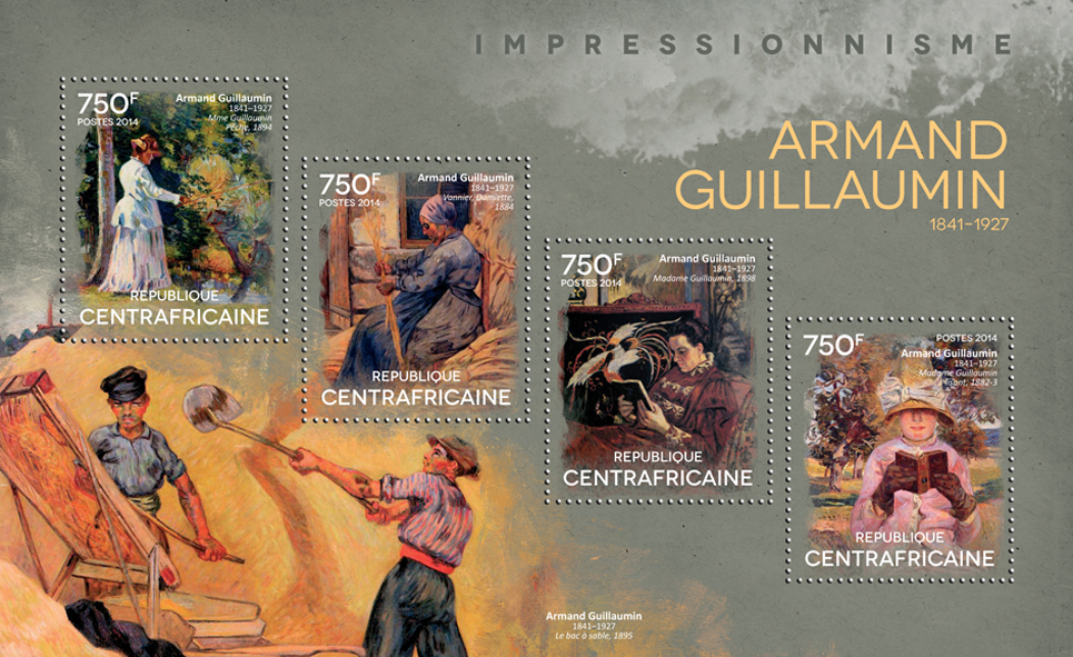 Armand Guillaumin - Issue of Central African republic postage stamps