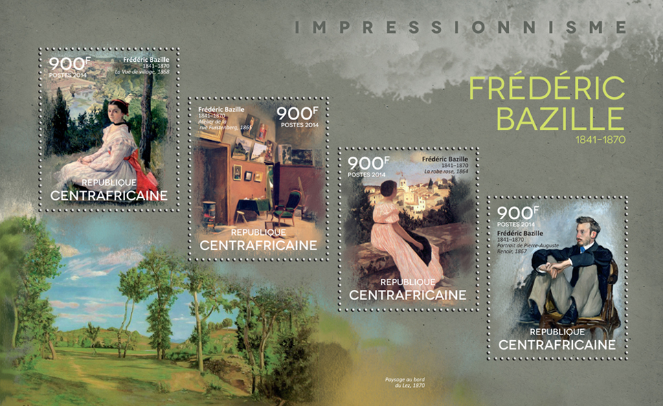 Frédéric Bazille - Issue of Central African republic postage stamps