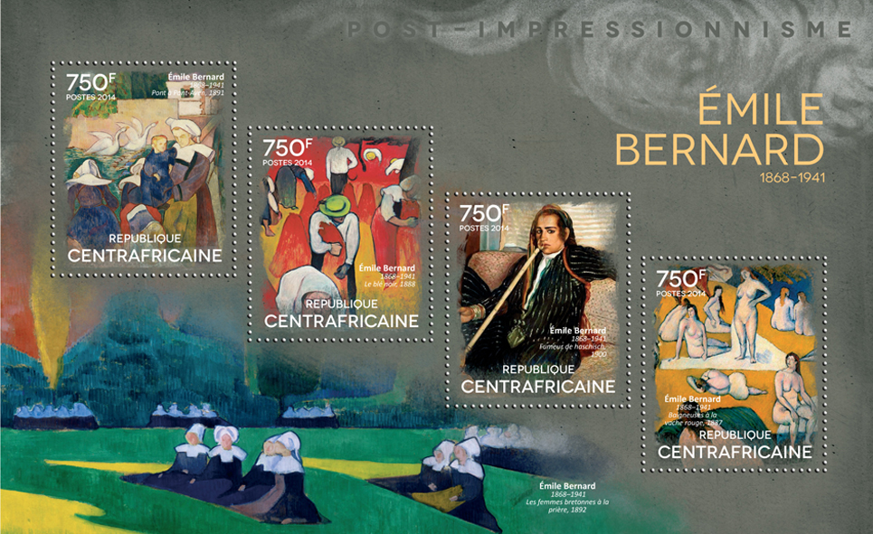 Émile Bernard - Issue of Central African republic postage stamps