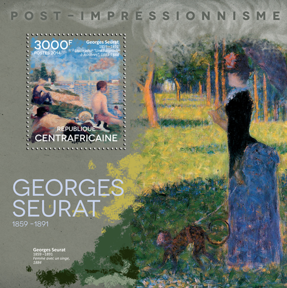 Georges Seurat  - Issue of Central African republic postage stamps