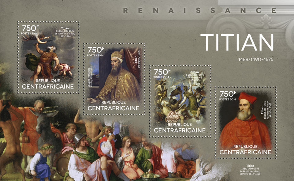 Titian - Issue of Central African republic postage stamps
