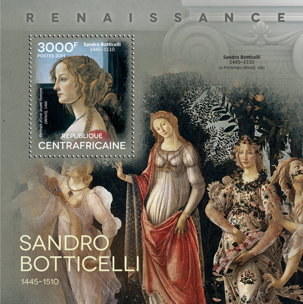 Sandro Botticelli  - Issue of Central African republic postage stamps