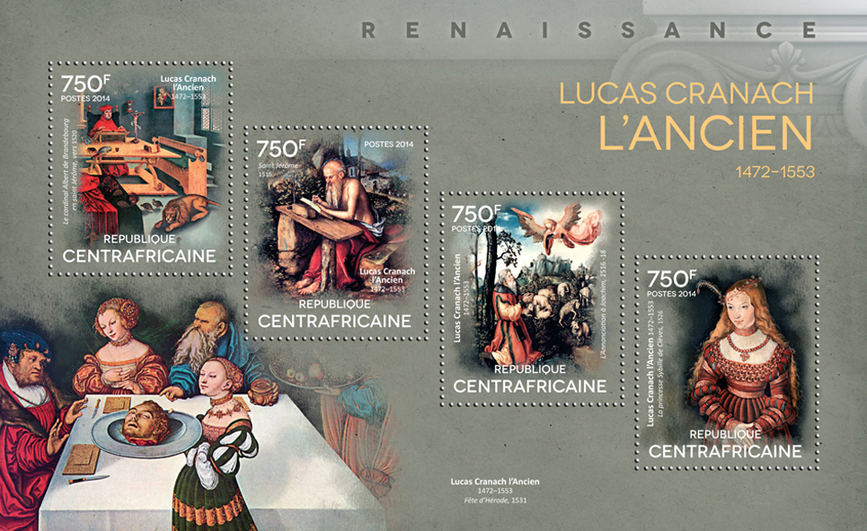 Lucas Cranach the Elder - Issue of Central African republic postage stamps