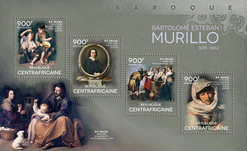 Bartolomé Esteban Murillo - Issue of Central African republic postage stamps