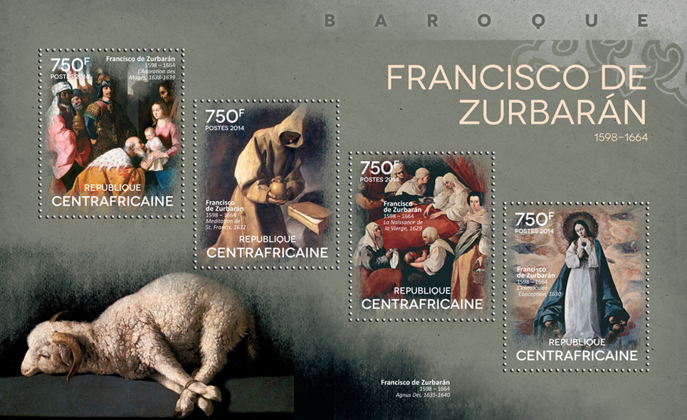 Francisco de Zurbarán - Issue of Central African republic postage stamps