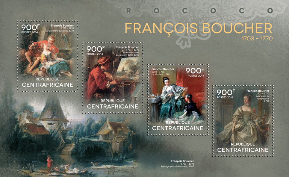 François Boucher  - Issue of Central African republic postage stamps