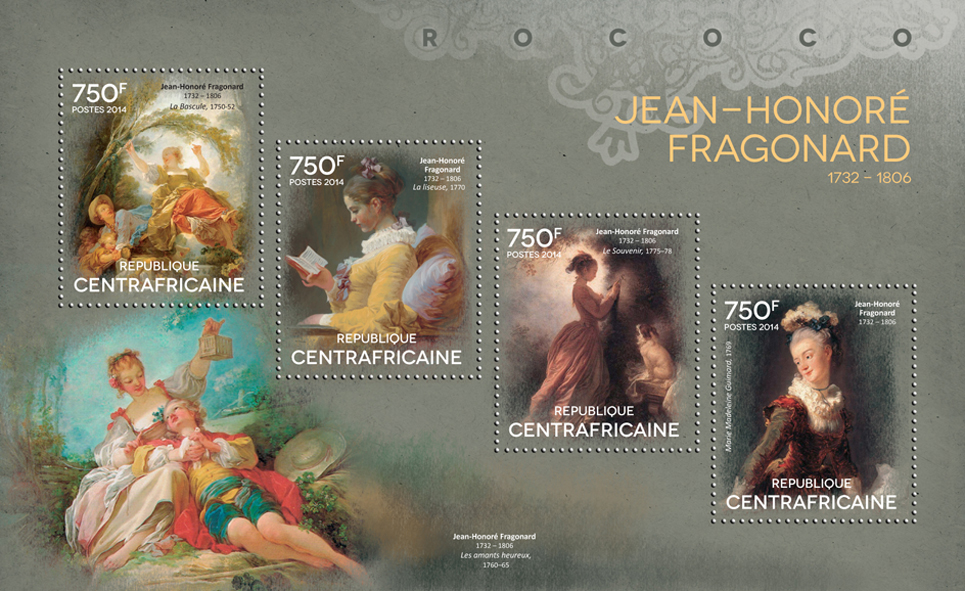 Jean-Honoré Fragonard - Issue of Central African republic postage stamps